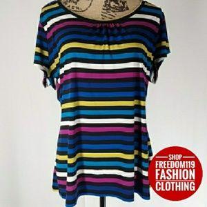 Worthington | Colorful Short-sleeve Pleat Top (XL)
